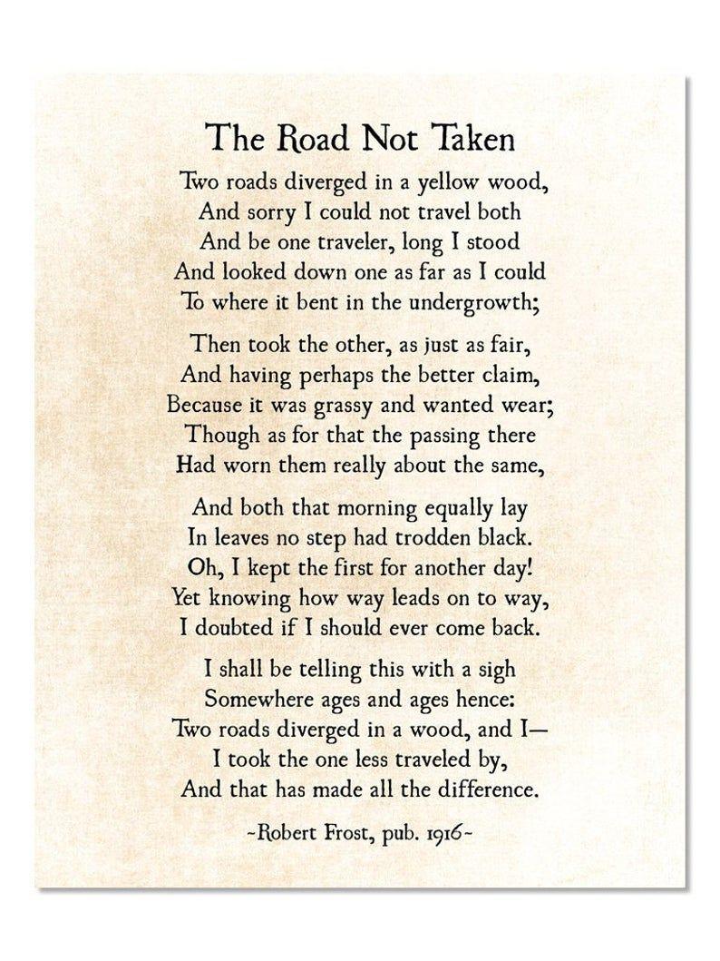 Road Not Taken Poem, Robert Frost Poem, Poetry Art Print, Graduation Grad Gift, Modern Wall Art, Literary Art Print, Unframed
