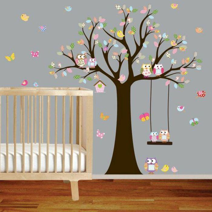 stickers arbre chambre bébé, arbre mural, deco murale originale ...