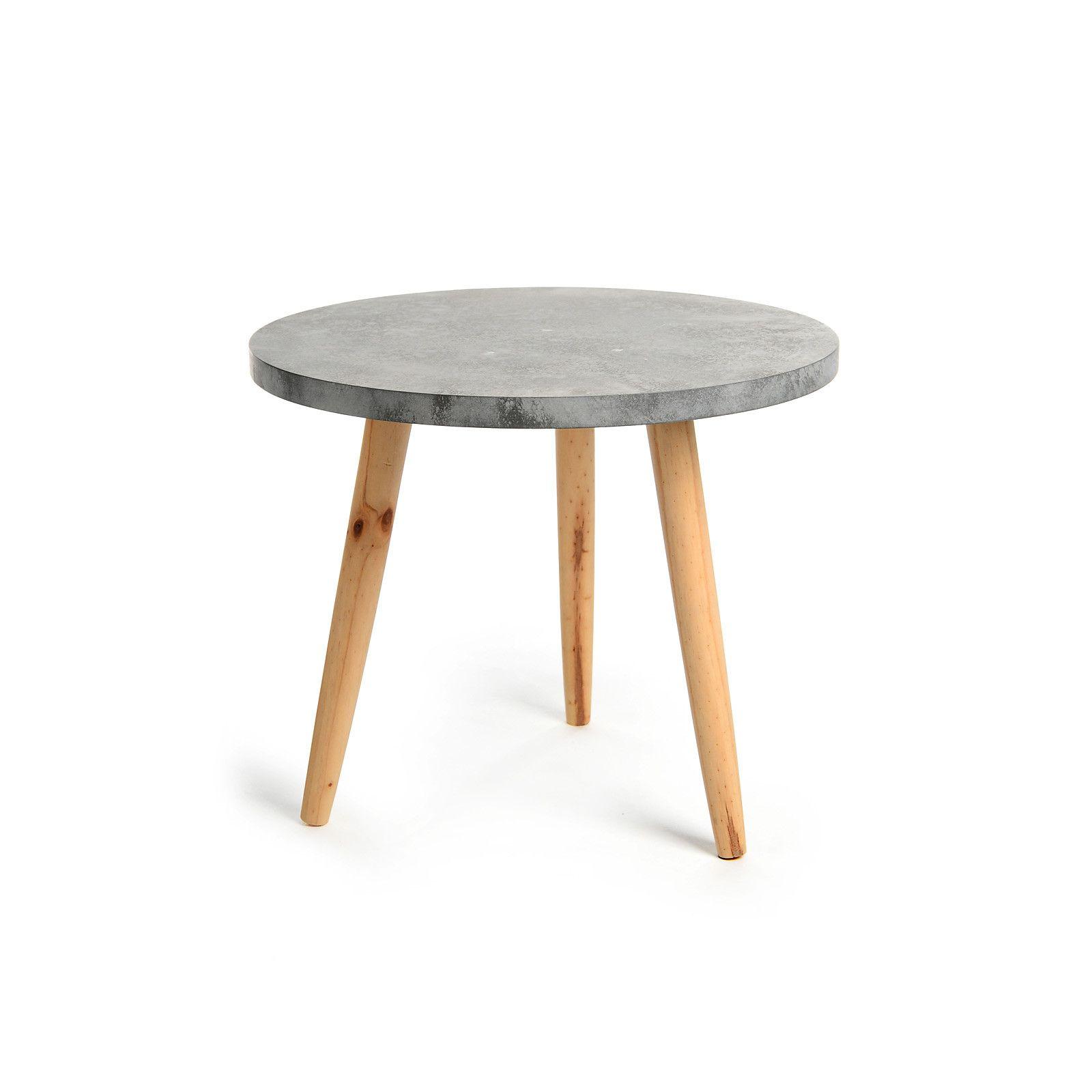 beistelltisch betonoptik kiefernholz grau ca d:50 x h:42 cm, Moderne