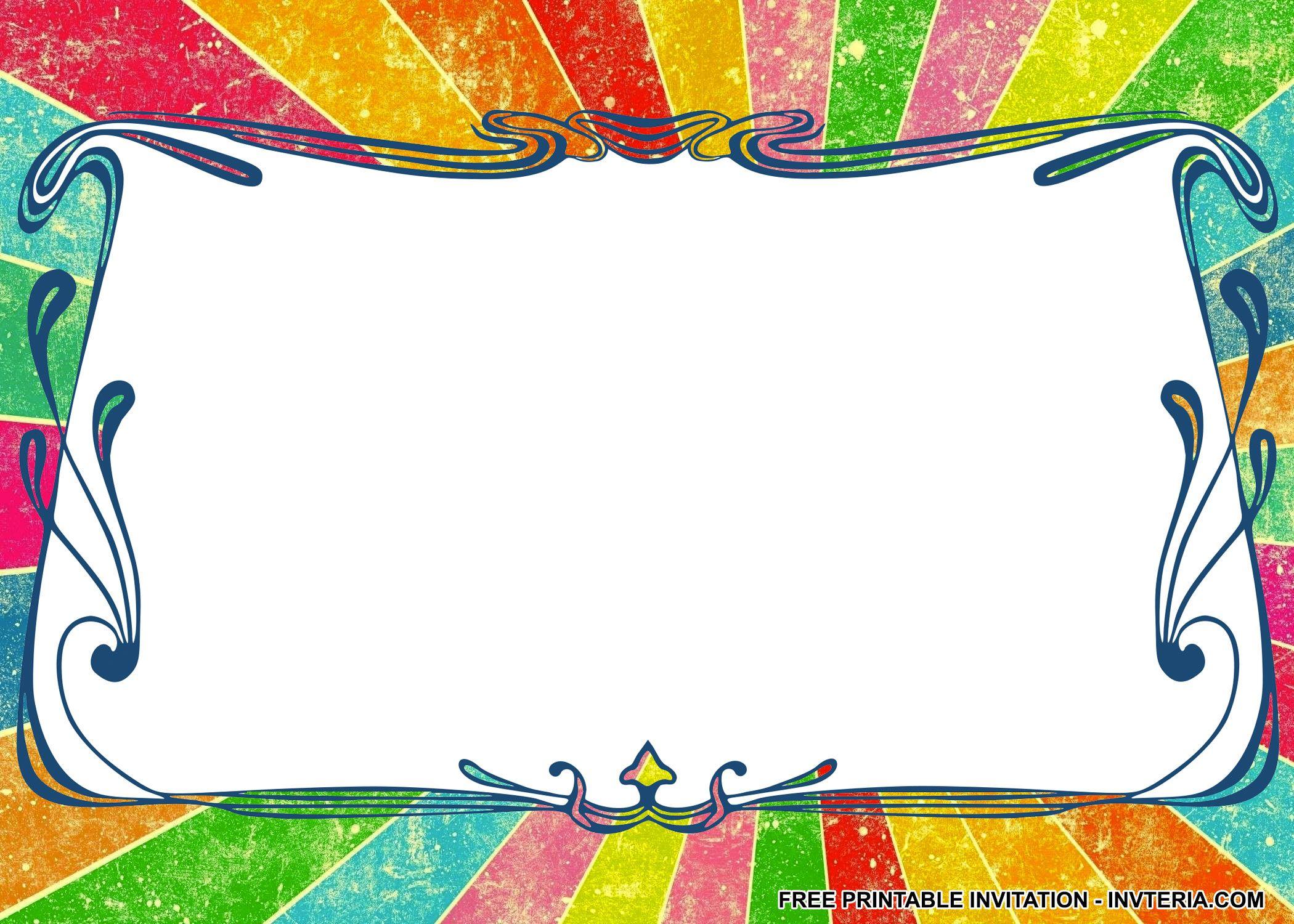 AWESOME FREE RAINBOW BIRTHDAY PARTY INVITATIONS IDEA | Invitation ...