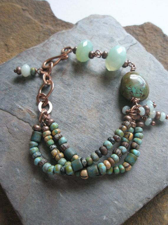 Gemstone Bracelet Turquoise Agate Czech Glass Beads And