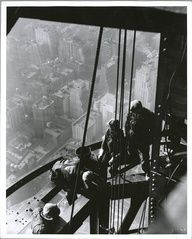 Workers on the Empire State Building 1920s    Construction of the Empire State Building was one of the most remarkable feats of the 20th century. It took only 410 days to build, by 3,400 workers, many of them desperate for work at the height of the Depression. The work force was made up largely of immigrants, along with hundreds of Mohawk Indian iron workers.    - Washington Post