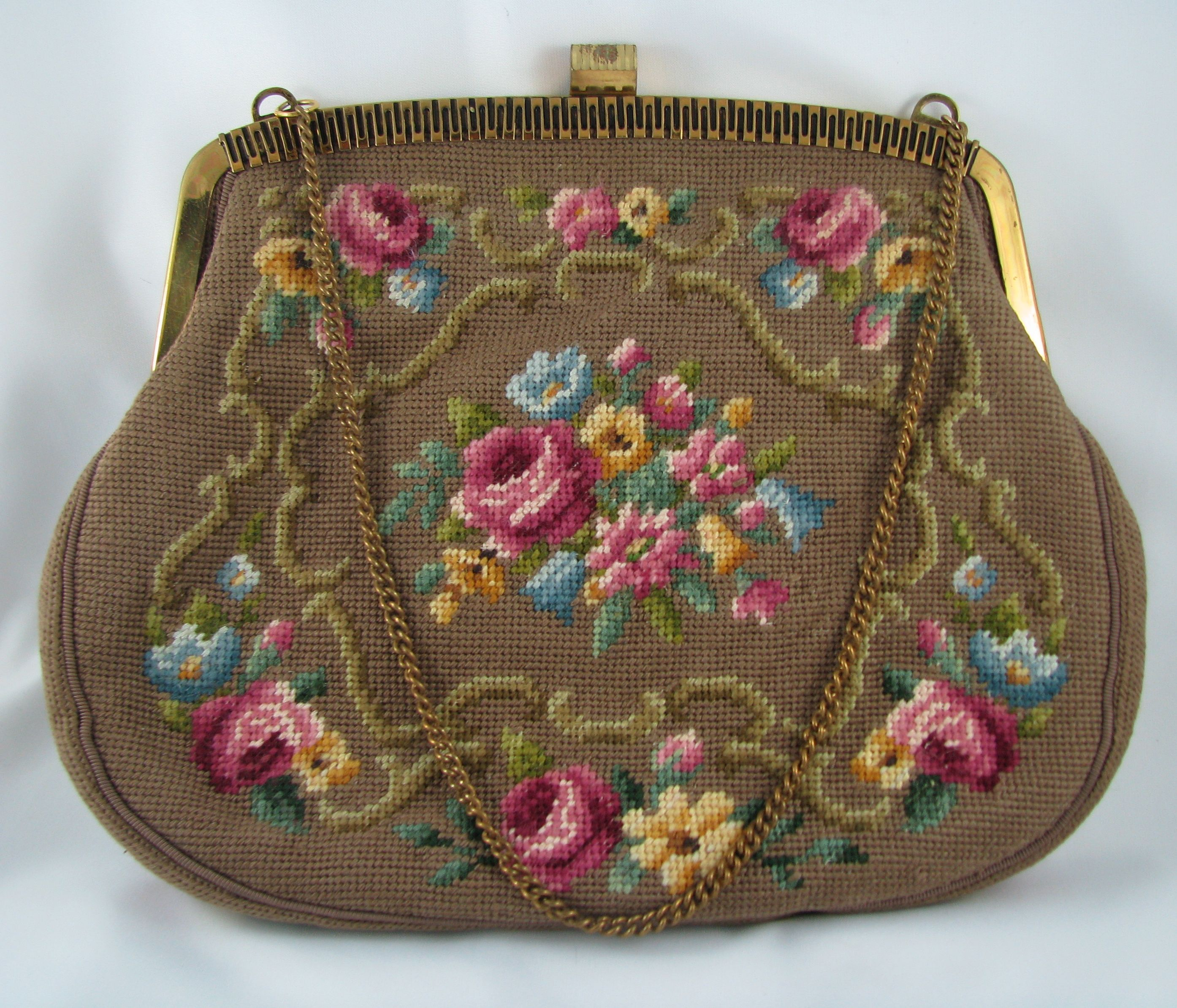 Vintage tapestry bag gold coloured frame chain handle If you wish to purchase $75.00  contact me through my web at http://vintagecollector.ca/