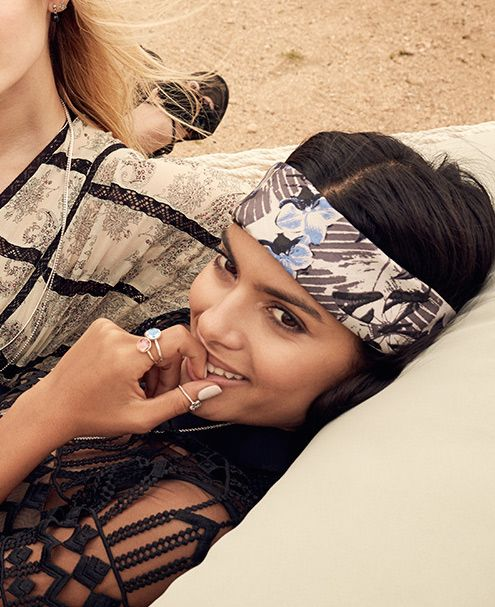 Wear your silk scarf as a headband for the funky festival look, or a bit of rock chic meets luxury ss16 BellaBallou #bandana #accessories #fashion #trend #lace #botanical #print