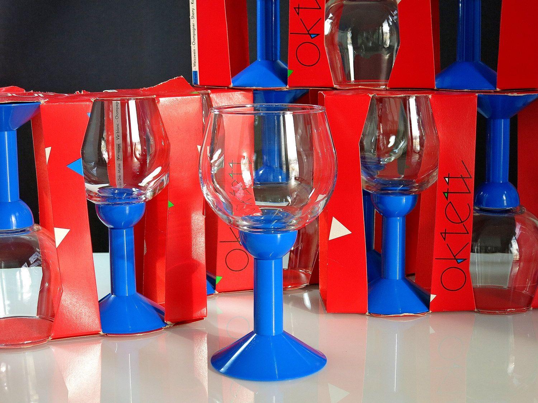 Bodum Oktett Red Wine Glasses Vintage Bodum Memphis Style Glass And Blue Plastic Wine Glasses 1980s Bodu Red Wine Glasses Plastic Wine Glasses Wine Glasses
