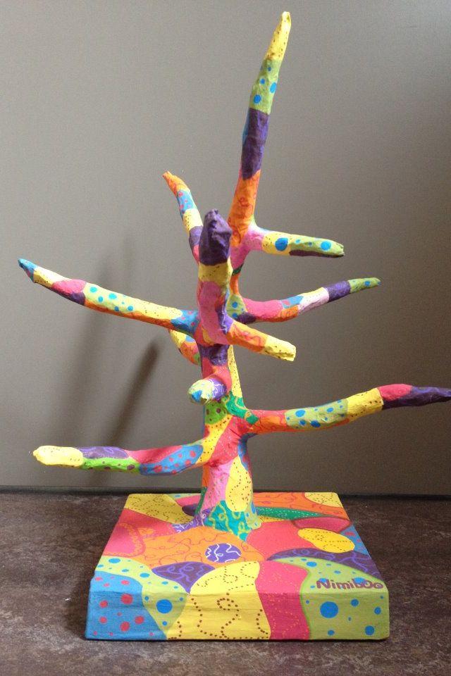 arbre color en papier m ch sculpture pinterest craft. Black Bedroom Furniture Sets. Home Design Ideas