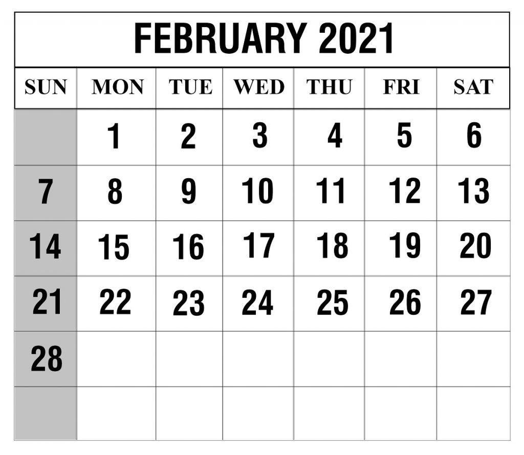 2021 February Calendar Template In 2020 Calendar Template Printable Calendar Template Calendar Printables