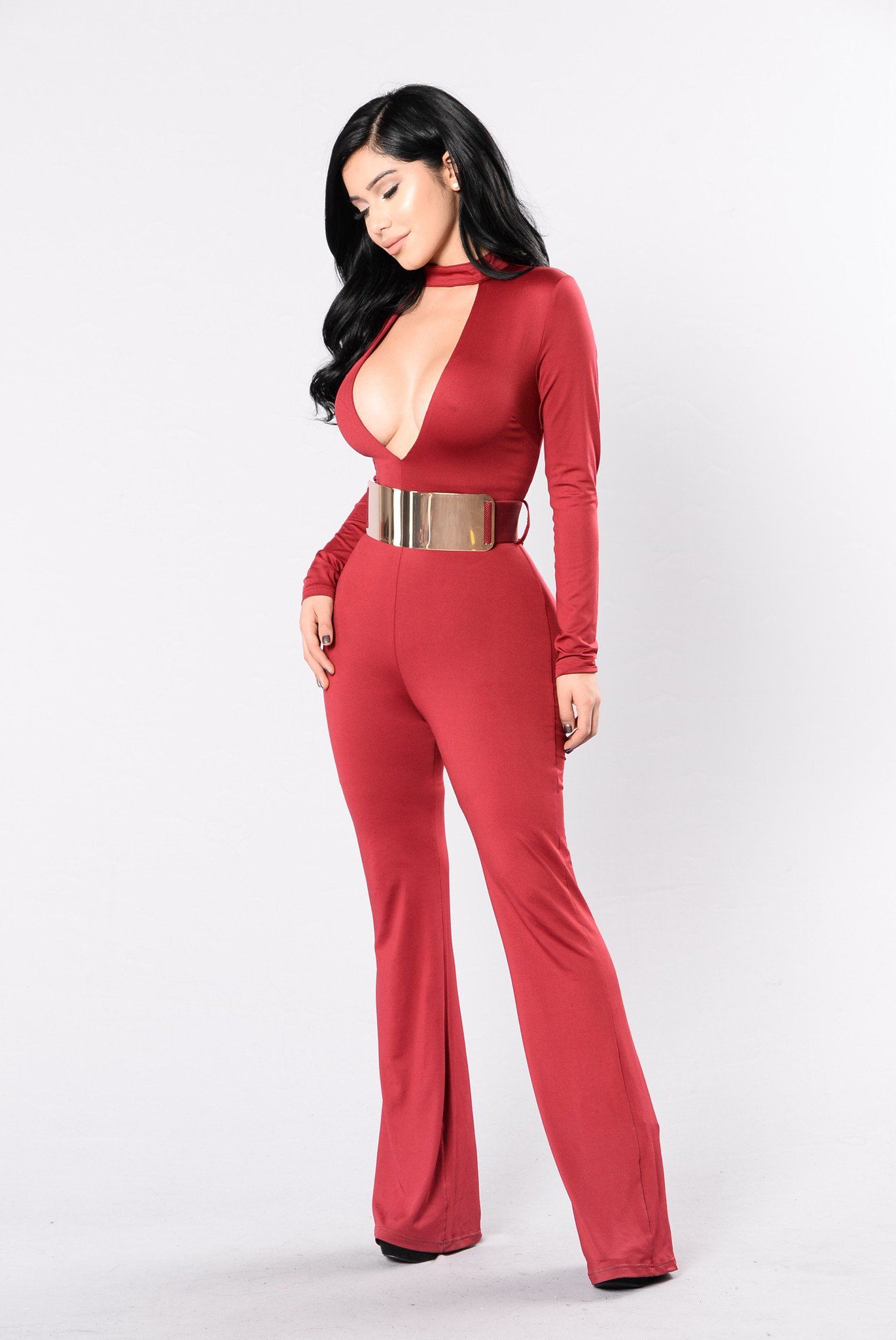7aa4e873ec3 Available in Black and Burgundy Long Sleeve Jumpsuit Choker Detail Deep