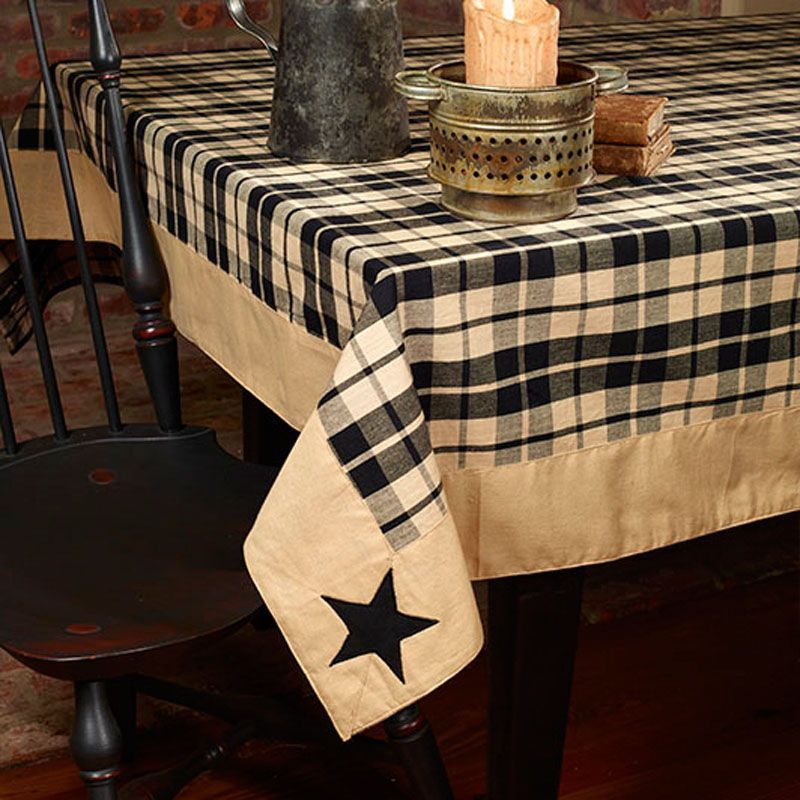 Farmhouse Star Black Tan Plaid Primitive Applique Cotton