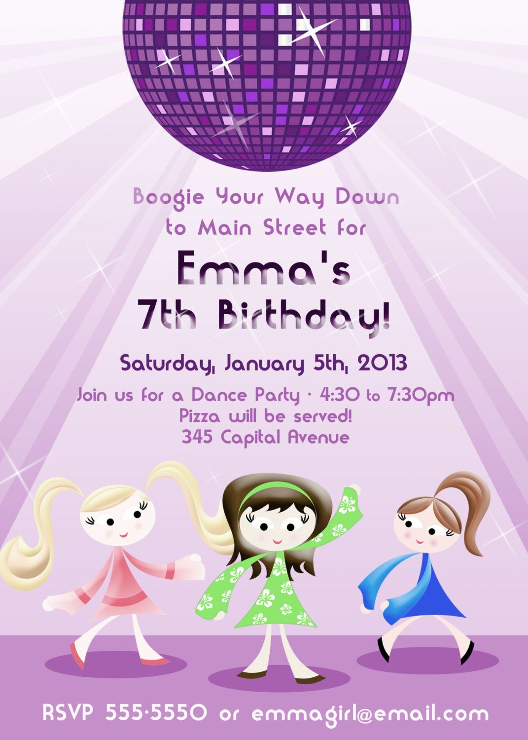 Girls Dance Party 5x7 (Digital) Invitation. $16.00, via Etsy ...