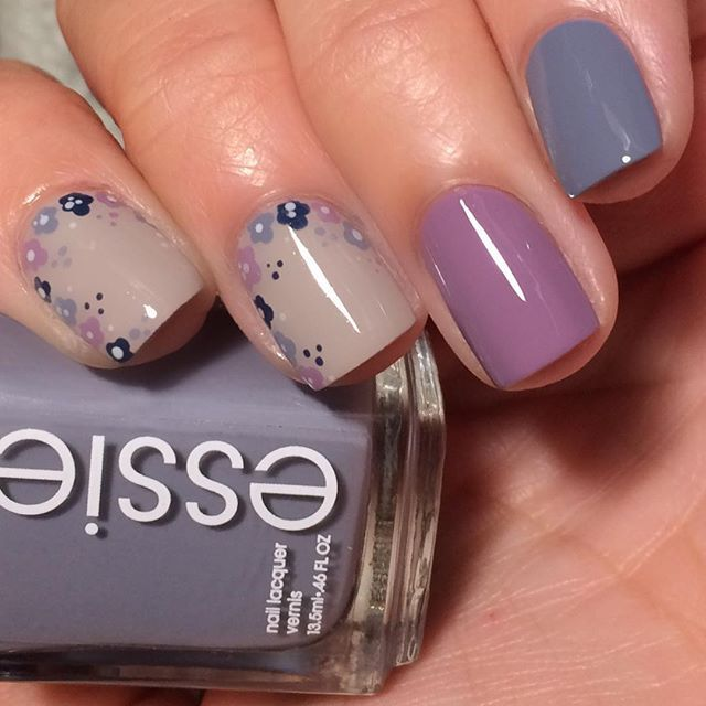 """""""Feeling floral tonight! (And I can't sleep obvi-it's 4:15am)  Essie Petal Pusher, Warm & Toasty Turtleneck, Take It Outside, and H&M Prussian Wool. HK Girl topcoat from @glistenandglow1  nighty nite!! #youngwildandpolished #nailart #nailartofig #instanails #nailoftheday #notd #beauty #beautyblogger #nailporn"""" Photo taken by @youngwildandpolished on Instagram, pinned via the InstaPin iOS App! http://www.instapinapp.com (11/14/2015)"""