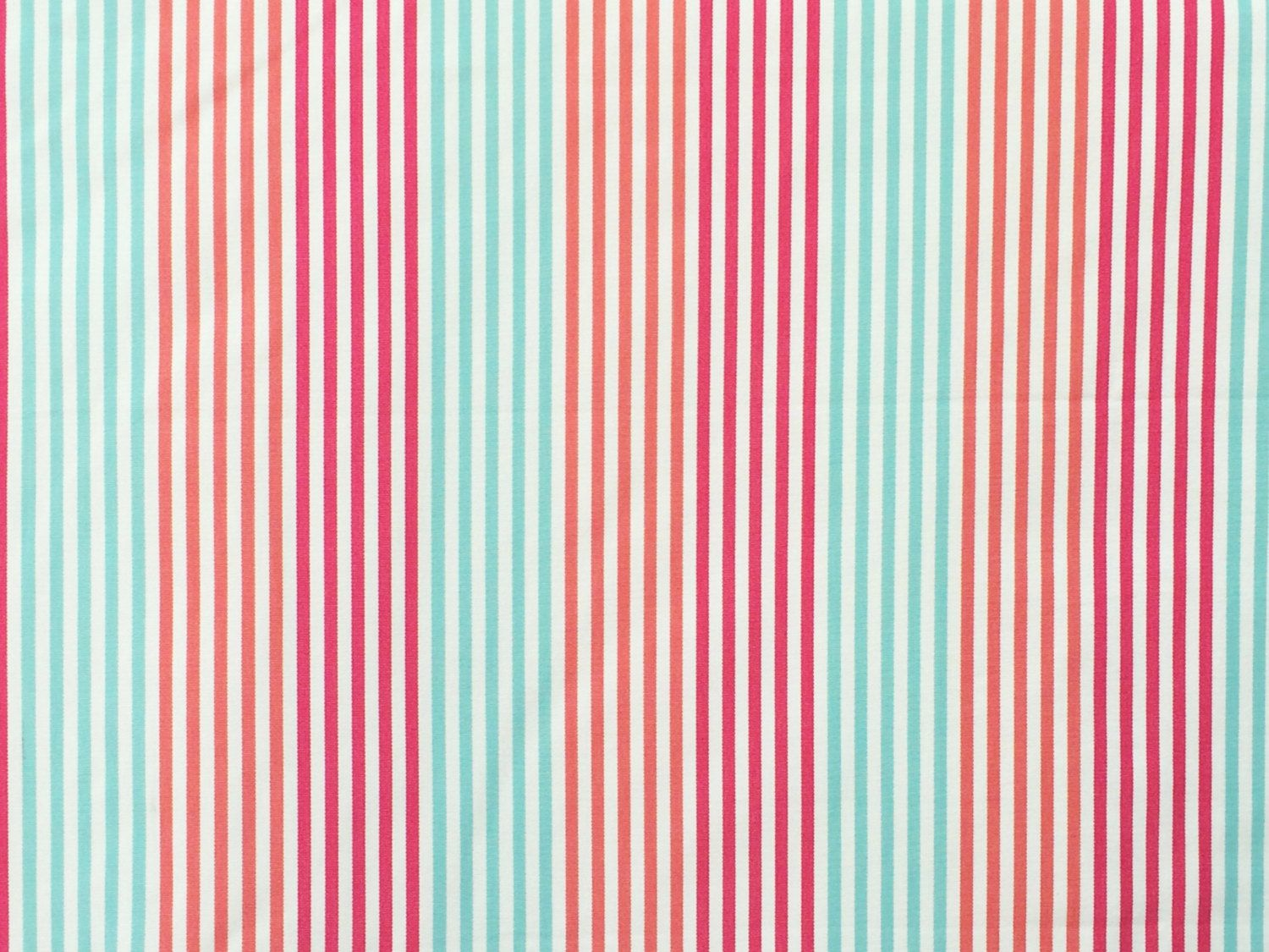 Fuchsia Pink, Coral and Mint Green Stripes Curtain Fabric By The ...