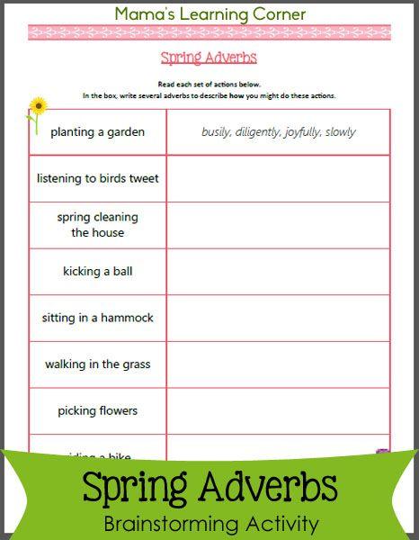 Spring Adverbs Worksheet Adverbs Handwriting Analysis Adverbs Worksheet Adverbs worksheet 3rd grade