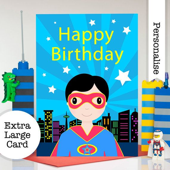 Superhero Birthday Card Personalised Birthday Card For Boys Etsy Birthday Cards For Boys Personalized Birthday Cards Personalized Birthday