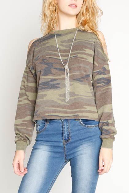 Z Supply Camo Crop Cold Shoulder Pullover
