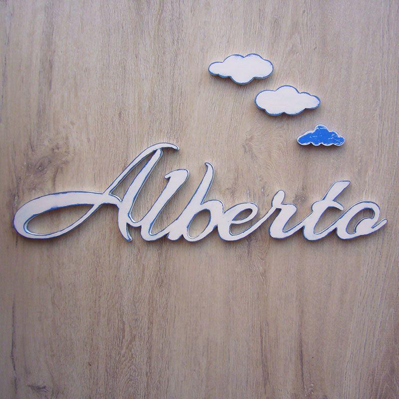 Alberto nombre de madera enlazado para pegar en la pared