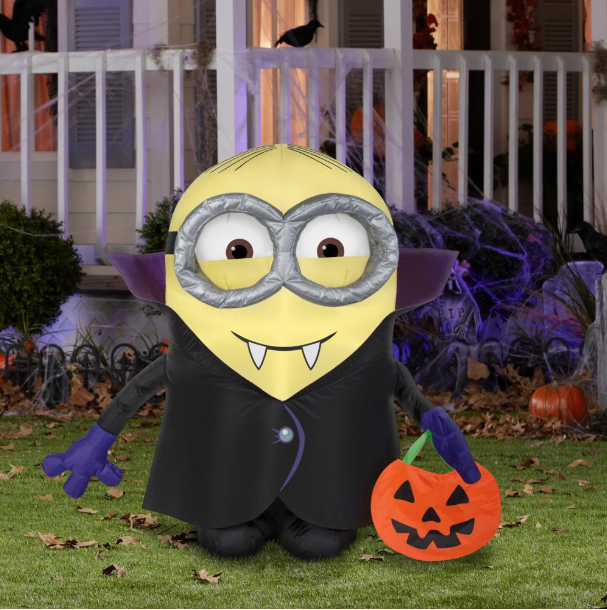 2 99 Ft Pre Lit Inflatable Gone Batty Minion With Treat Sack Airblown 71882 The Home Depot Minions Diy Halloween Decorations Halloween Inflatables
