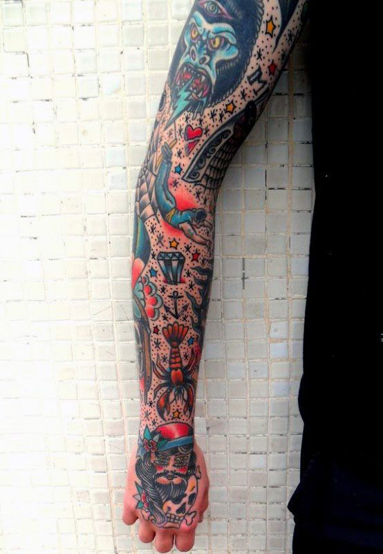 Cool Symbols Guys Traditional Full Arm Sleeve Tattoos Traditional Tattoo Sleeve Traditional Tattoo Tattoo Sleeve Designs