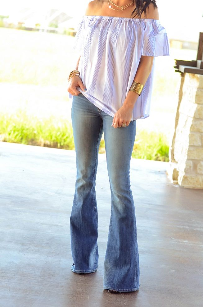 Off Shoulder Top and Flare Jeans, Wide leg Jeans, summer outfit ...
