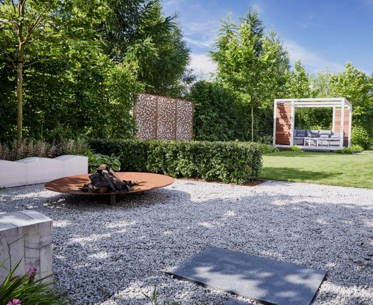 Ideen zur gartengestaltung modern kies grau sitzbereich for Gartengestaltung modern kies