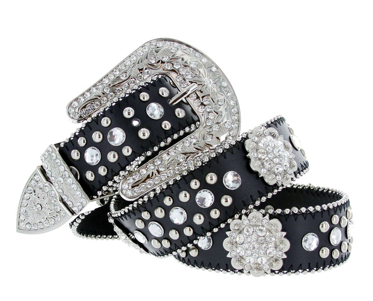 wide Women Rhinestone Belt Fashion Western Cowgirl Bling Studded Design Leather Belt 1-1//2 38mm