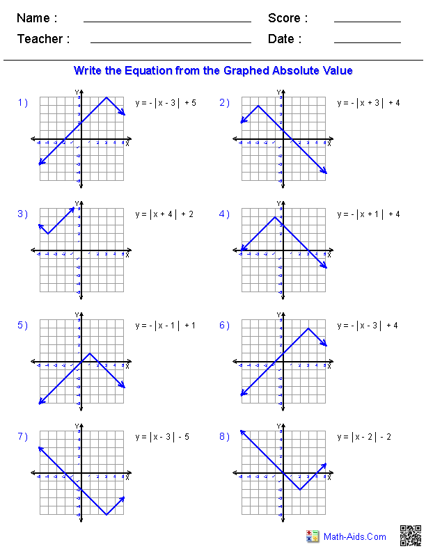Graphing Absolute Values from Equations – Algebra 2 Transformations Worksheet