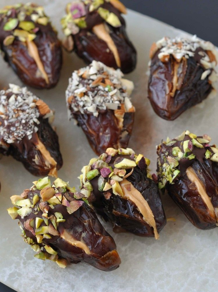 Peanut Butter Stuffed Chocolate Covered Dates Chocolate