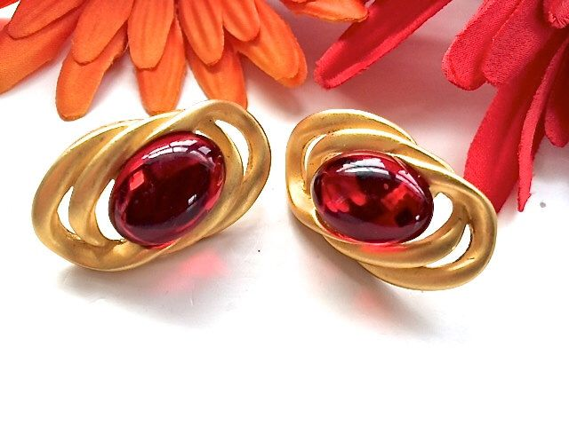 Cherry Red &Gold Matte Cluster Pierced Earrings Retro Glam Fashion Jewelry by CrimsonVintique on Etsy https://www.etsy.com/listing/227038310/cherry-red-gold-matte-cluster-pierced