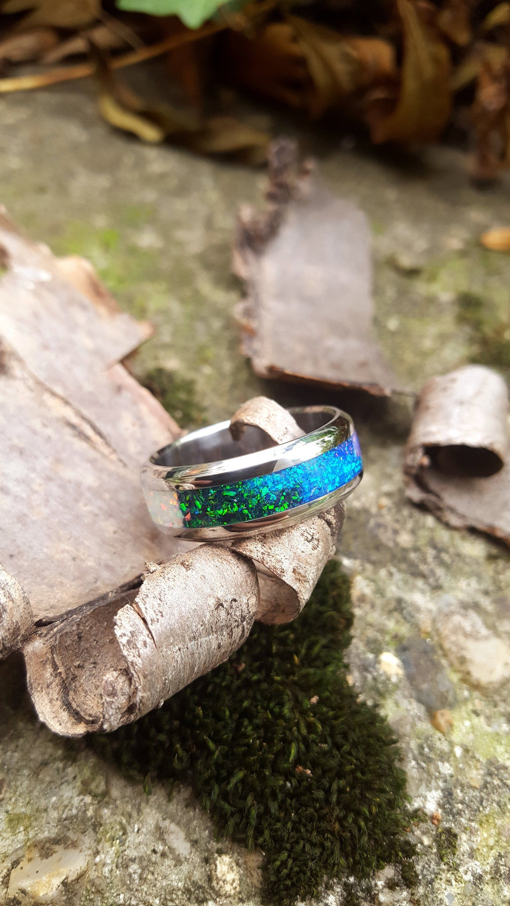 Wedding Ring, Stainless Steel Ring with Crushed Four