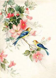 vintage greeting card birdies