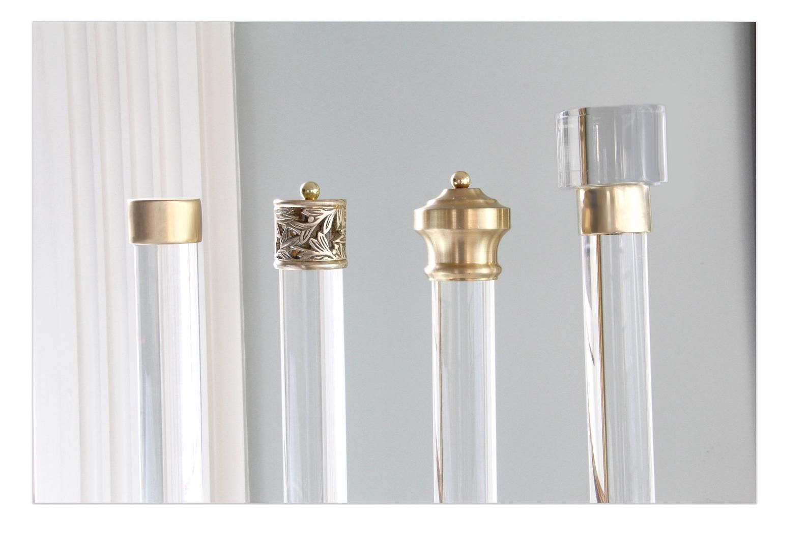 Curtain Rod Lucite Polished Brass Satin Brass Or Nickel
