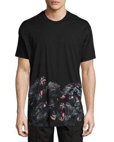 c9b80459e1b5b7 GIVENCHY Columbian-Fit Monkeys Printed-Hem T-Shirt