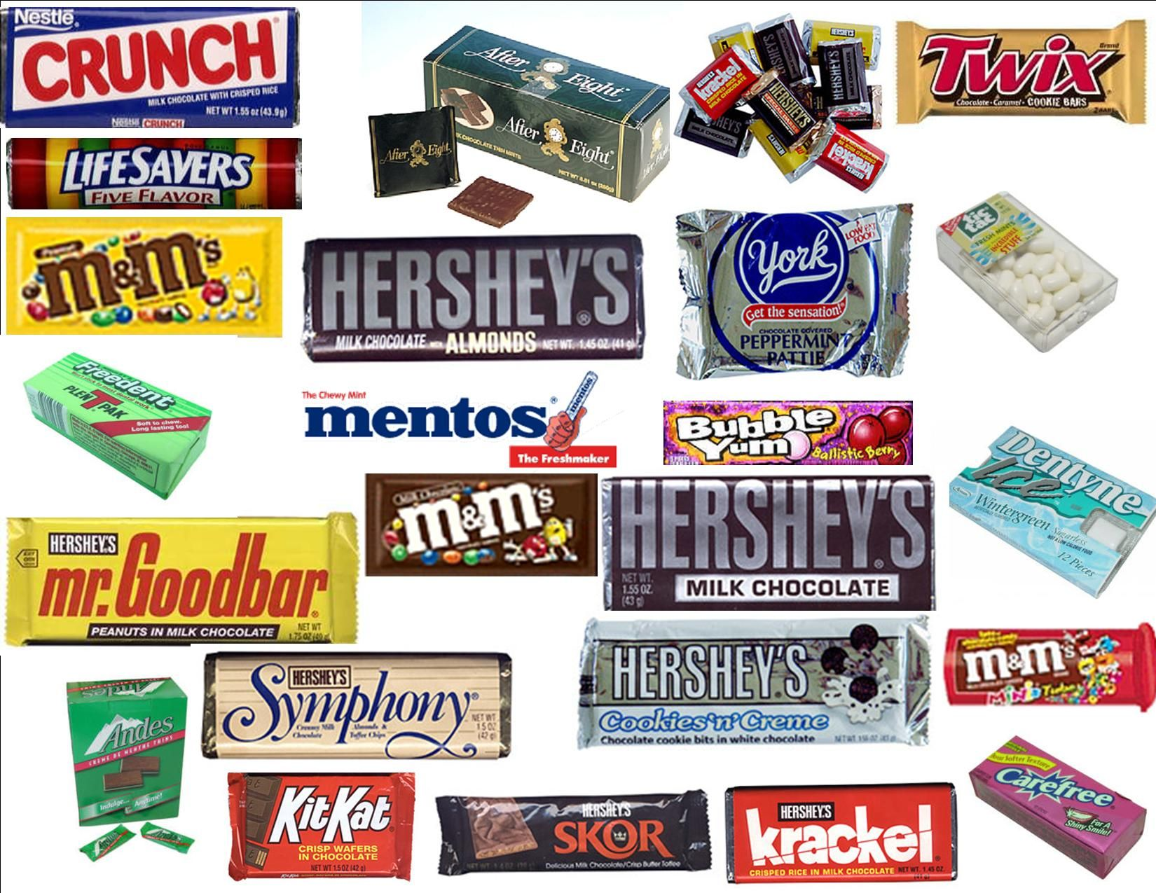 All the good stuff...well..except for the york and skor bar (blech ...