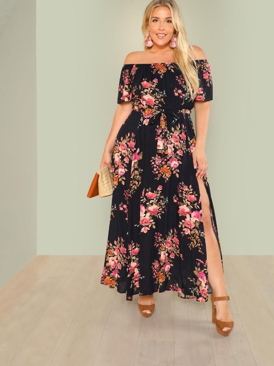 Floral Print Bardot Maxi Dress Shein Sheinside Maxi Dress Plus Size Summer Outfit Dresses [ 1199 x 900 Pixel ]