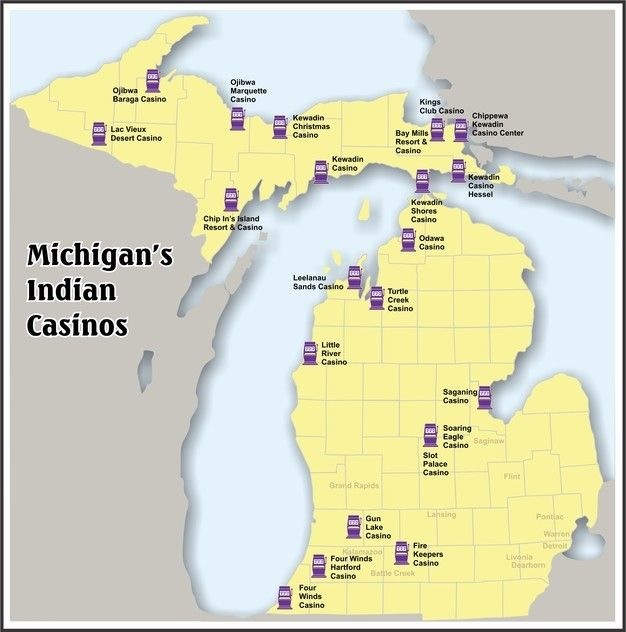 Casinos In Michigan Map Michigan's Indian Casinos Map | Casinos in michigan, Casino resort