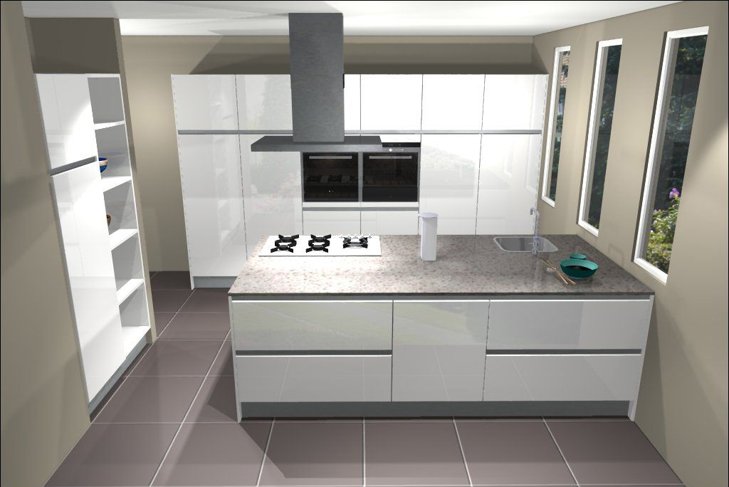 Ontwerp van keuken met kookeiland eiland keukens pinterest - In het midden eiland keuken ...
