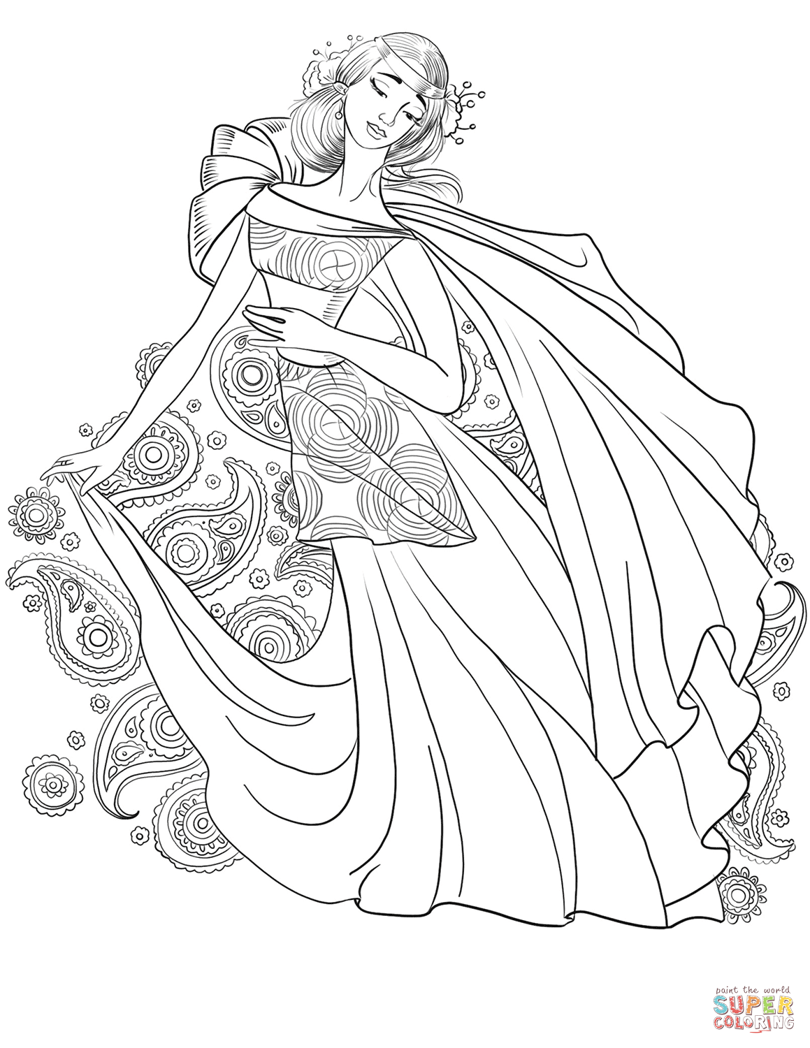Lady from 70s with paisley motif super coloring