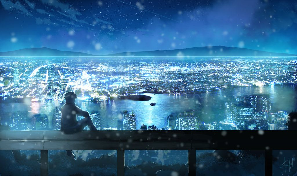 Night Light Anime Scenery Anime Scenery Wallpaper Anime City City night anime scenery wallpaper