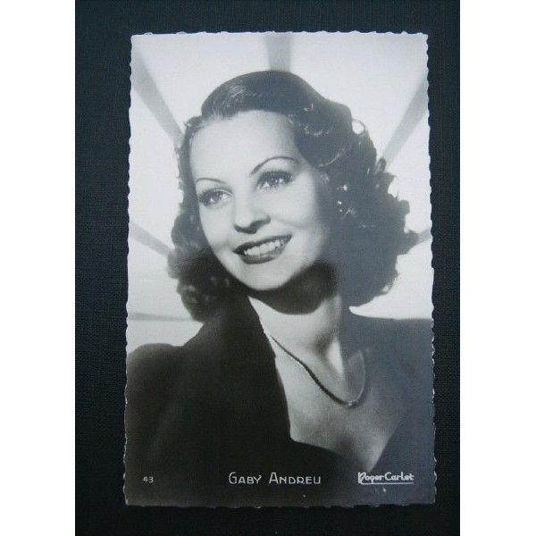 French actress Gaby Andreu or Gaby André (1920-1972) was a beautiful star of the French cinema during World War II.