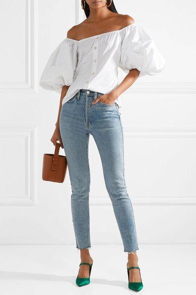 4496168cd5af55 Caroline Constas - Jolie Off-the-shoulder Cotton-blend Poplin Top - White