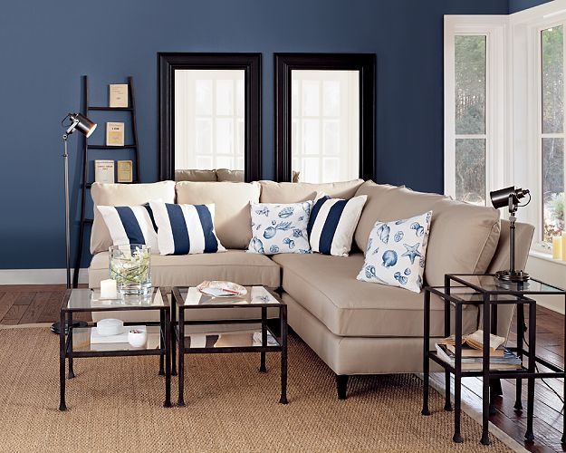 Love the blue and beige townhouse living room inspiration pinterest white trim and slate - Living room and kitchen color schemes ...