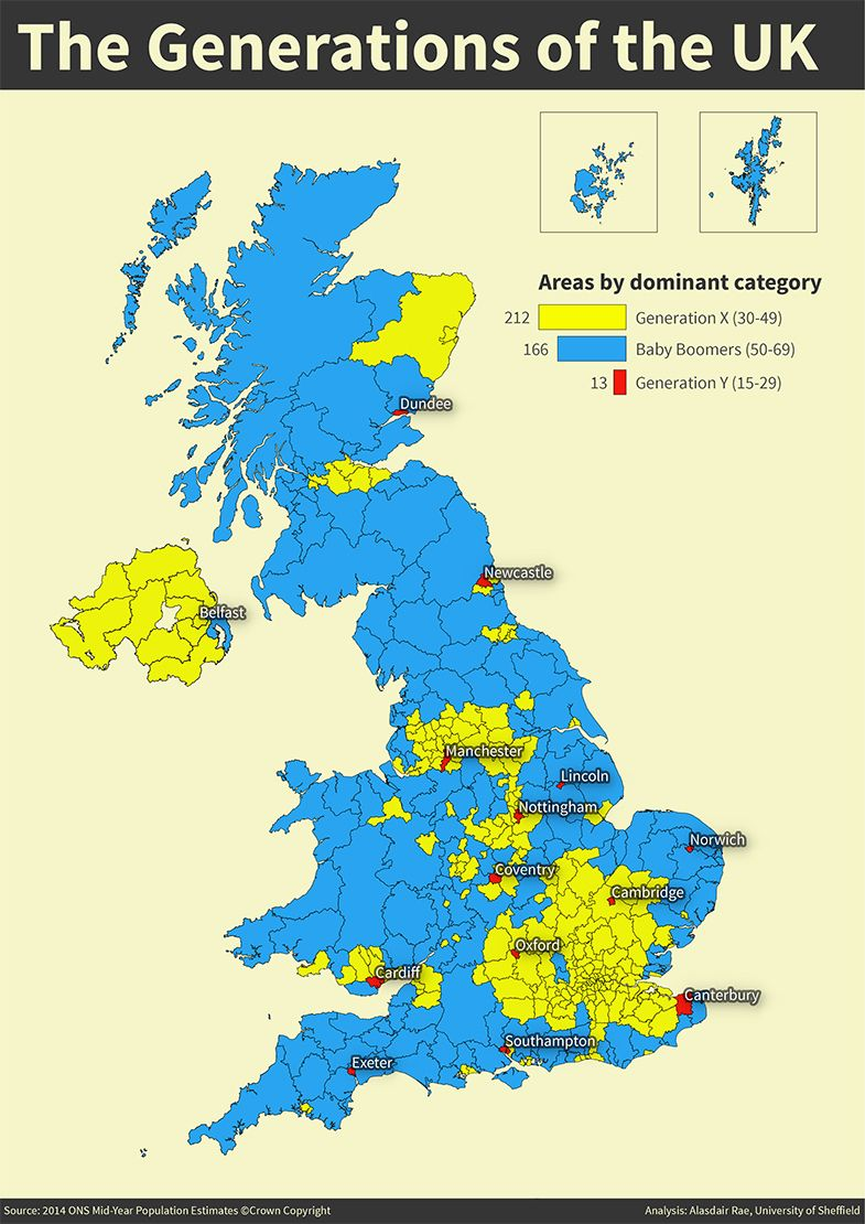 Generations Of The Uk By Alasdair Rae Map Uk Demography Map