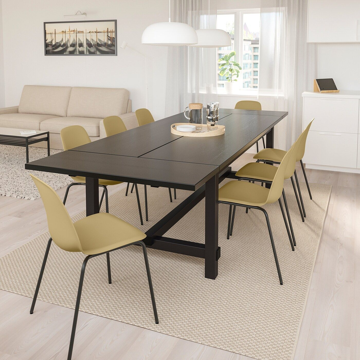 Nordviken Leifarne Table And 6 Chairs Black Light Olive Green Black Ikea In 2020 Dining Table Dining Table Chairs Wood Dining Table