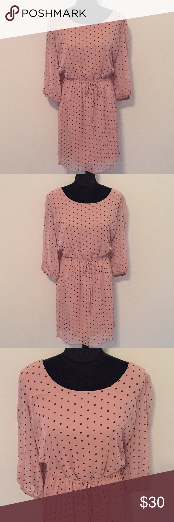 "72eaaca5c03 Enfocus Pink Polka Dot Dress Size 14 Beautiful vintage look pink polka dot  dress with back button closure. New condition 100% Polyester Armpit across  20"" ..."