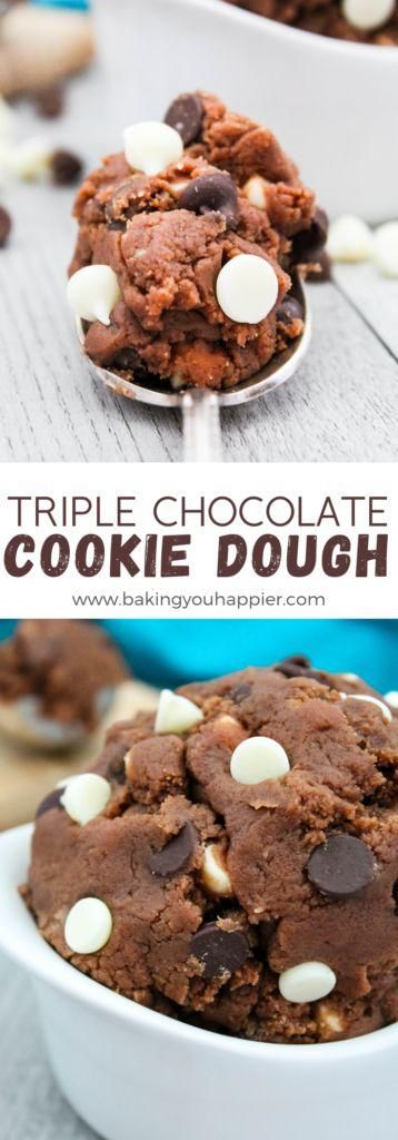 Triple Chocolate Edible Cookie Dough | Baking You Happier