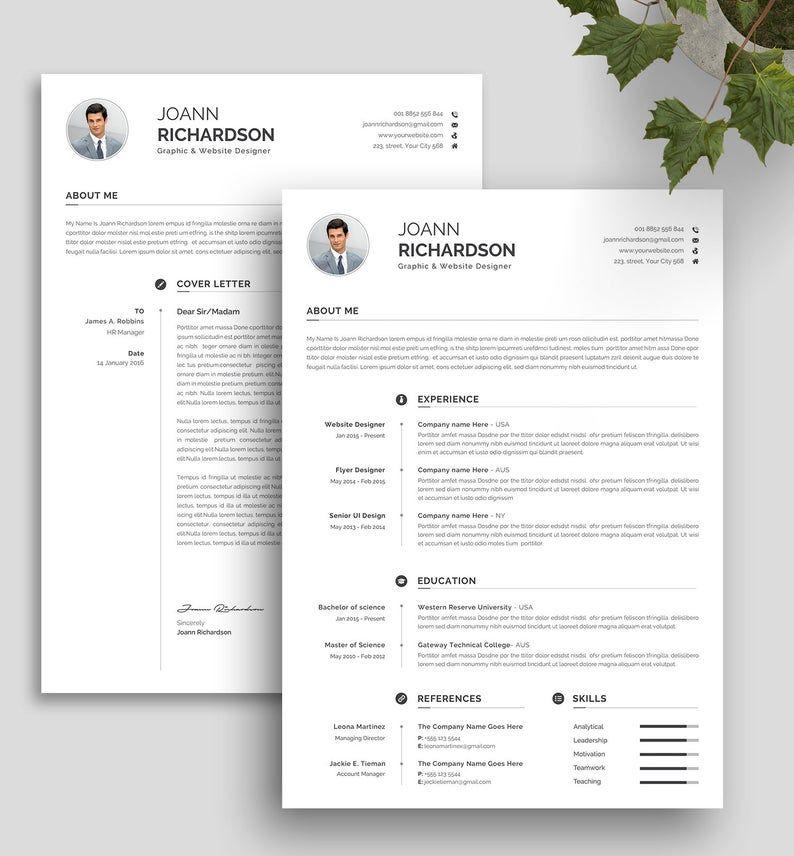 Modern And Creative Resume Template Modern Professional Etsy Resume Design Template Resume Template Professional Creative Resume