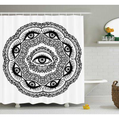 "Bungalow Rose Dayne Floral Crown Astrology Shower Curtain Size: 69"" W x 70"" L"