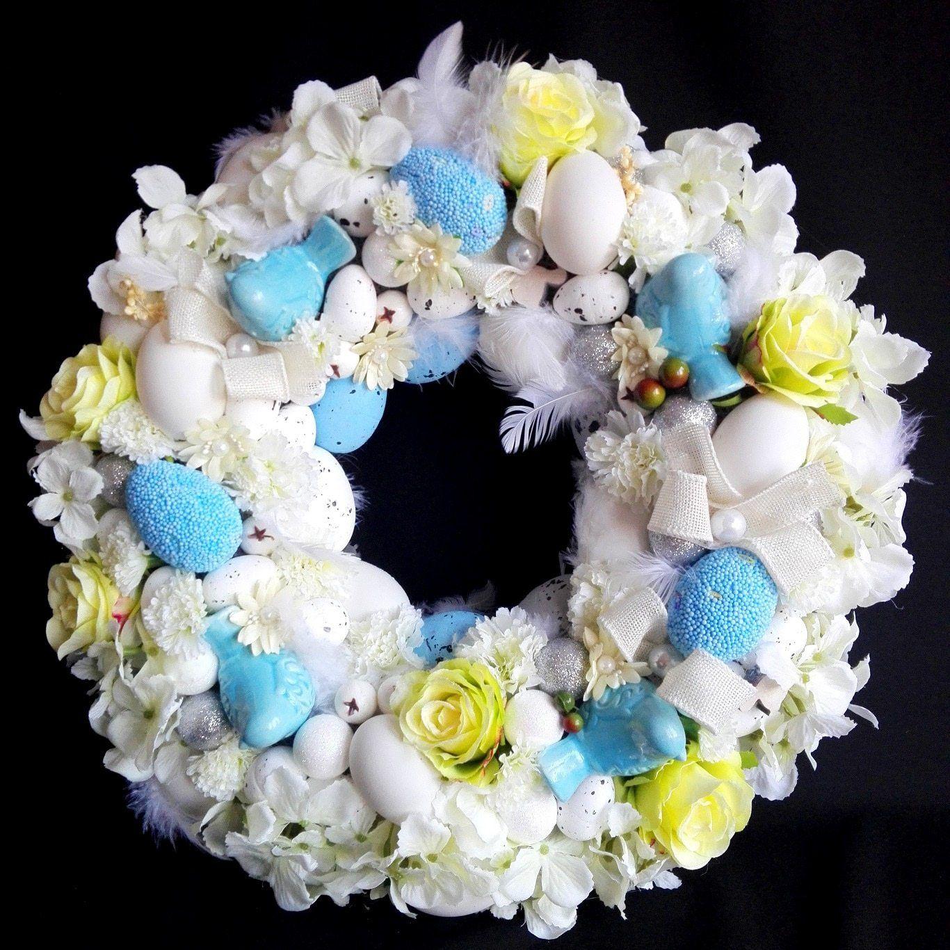 Bialo Niebieski Wieniec Wielkanocny Swiateczne Atelier Easter Inspiration Wreaths Hanukkah Wreath