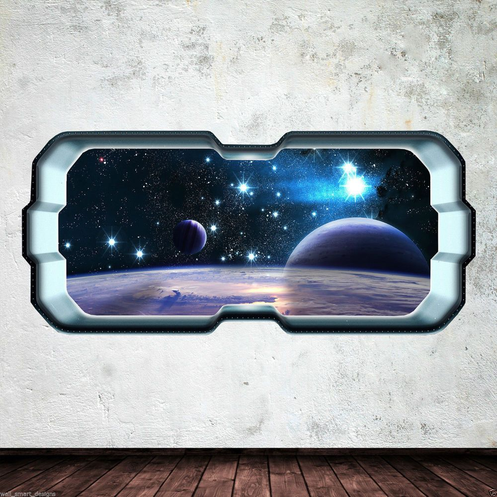 Outer Space Room Decor For Teen: Details About Space Planet Window Stars Full Colour Wall