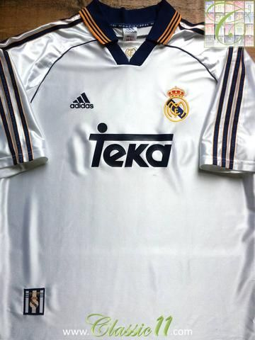 Relive Real Madrid s 1998 1999 season with this original Adidas home football  shirt. 03e3e0064